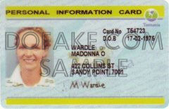 Tasmania Information Card Fake ID